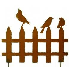 Edelrost Vogelzaun mit 3 Vögelchen 50 cm Breit auf Stab
