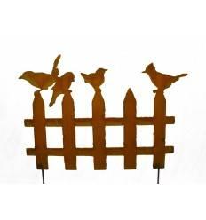 Edelrost Vogelzaun mit 4 Vögelchen 50 cm breit auf Stab