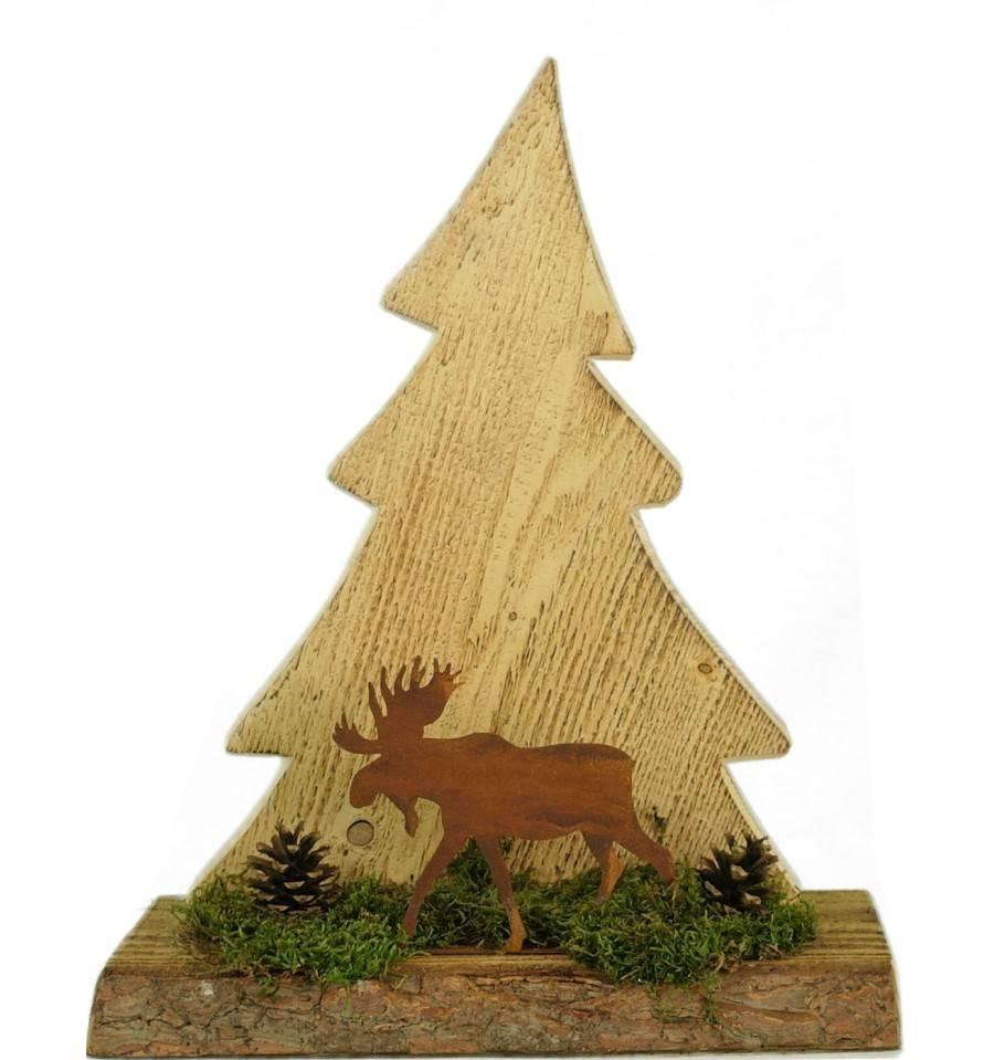 Weihnachtsdeko Baum Holz.Angeflammte Holztanne Mit Rostigem Elch Als Weihnachtsdeko Kaufen