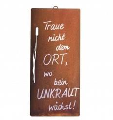 Rostschild 'Unkraut' zum Hängen inkl. Beschriftung Höhe 30 cm