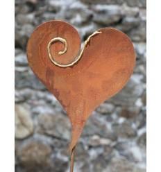 XL Gartenstecker Herz mit geschwungenem Golddekor Muster - Ø 35cm