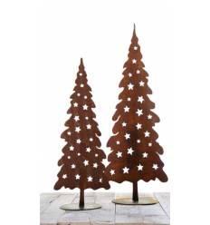 Weihnachtsbaum Metall mit Sternen Jul auf Platte Höhe 100 cm