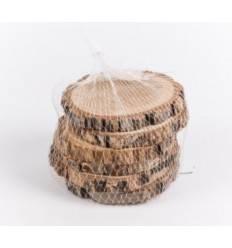 6 Deko Holzscheiben mit rustikaler Rinde Ø 10 cm