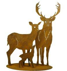 Rehfamilie mit Hirsch auf Platte groß 60x90 cm