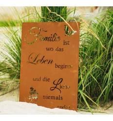 Familie ist, wo das Leben beginnt und die Liebe niemals endet - Gartenschild mit Famile Spruch 60 x 40 cm