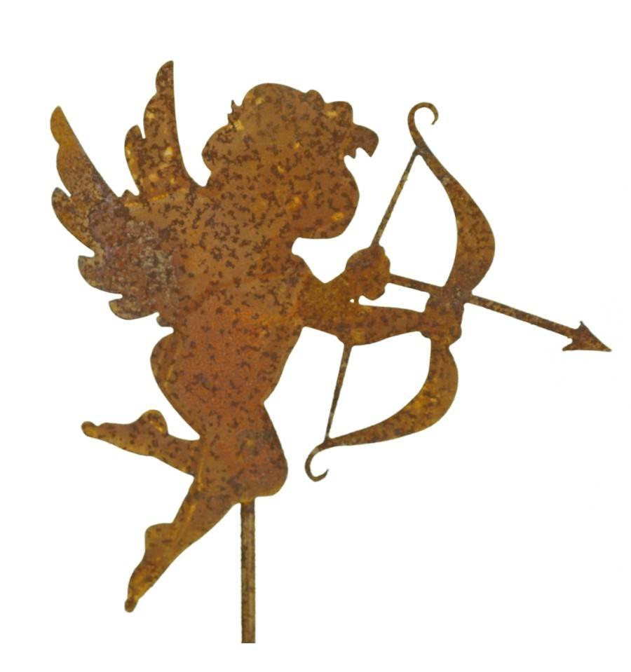 Gartenstecker Weihnachten.Gartenfiguren Skulpturen Engel Mit Bogen Auf Stab Gartendeko