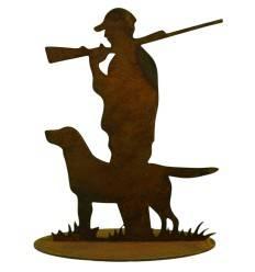 Jäger mit Hund auf Platte klein 15x20cm