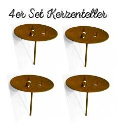4er Set Edelrost Kerzenteller mit Dorn für Adventskranz