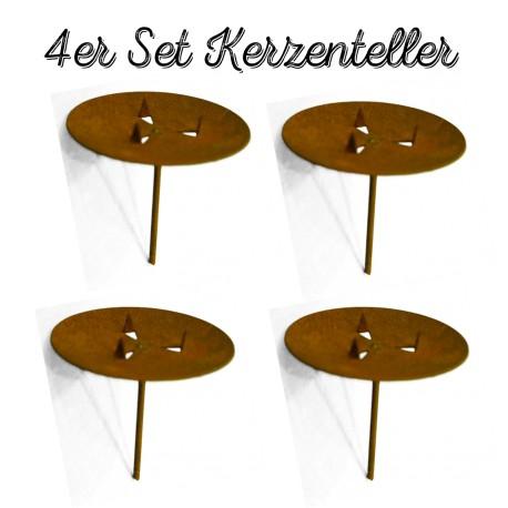 4er set edelrost kerzenteller mit dorn online kaufen. Black Bedroom Furniture Sets. Home Design Ideas
