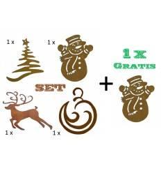 Weihnachtsbaumschmuck 4er Set - Hirsch, Tanne, Schneemann, Weihnachtskugel je 8 cm hoch + 1 Schneeman gratis