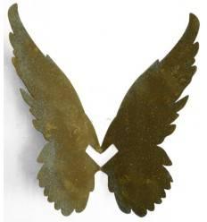 Engelsflügel aus Edelrost zum Einhängen in Vasen und Gläser bis 1cm Rand - schräg - Höhe 22 cm, max. Breite 25 cm