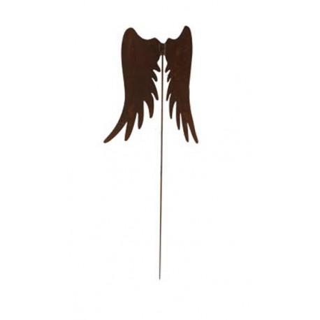Gartenstecker schmale Engelsflügel 40 cm hoch Edelrost Weihnachtsdeko