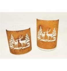 Edelrost Bogen gross, Höhe 20 cm, Breite 13,5 cm, halbrund mit Wald- und Wildmotiv im Winter mit Glas