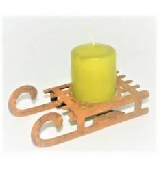 Edelrost Teelichthalter Schlitten Höhe 3 cm, Breite 5 cm, Länge 11 cm