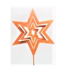 Stern in Stern Gartenstecker, Durchmesser 15 cm - Höhe 49 cm, - klein