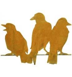 Edelrost-Raben 3er Gruppe Variante 4, Höhe 37 cm, Breite 46 cm, auf Stange 50 cm lang