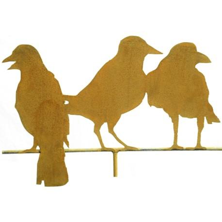 Edelrost-Raben 3er Gruppe auf Stange Variante 1, Höhe 38 cm, Breite 56 cm, auf Stange 60 cm lang