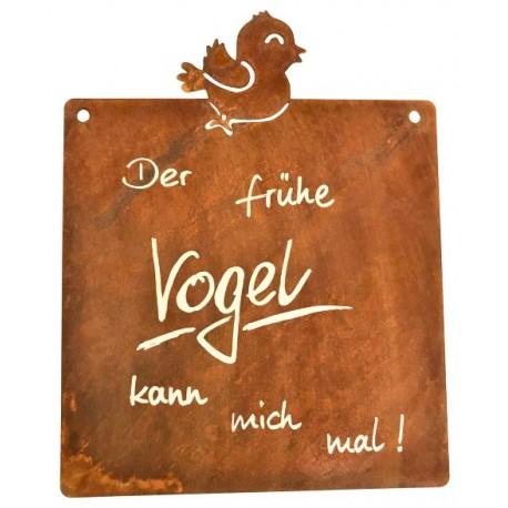 Edelrost-Tafel 'Früher Vogel' inkl. Beschriftung Höhe 23 cm