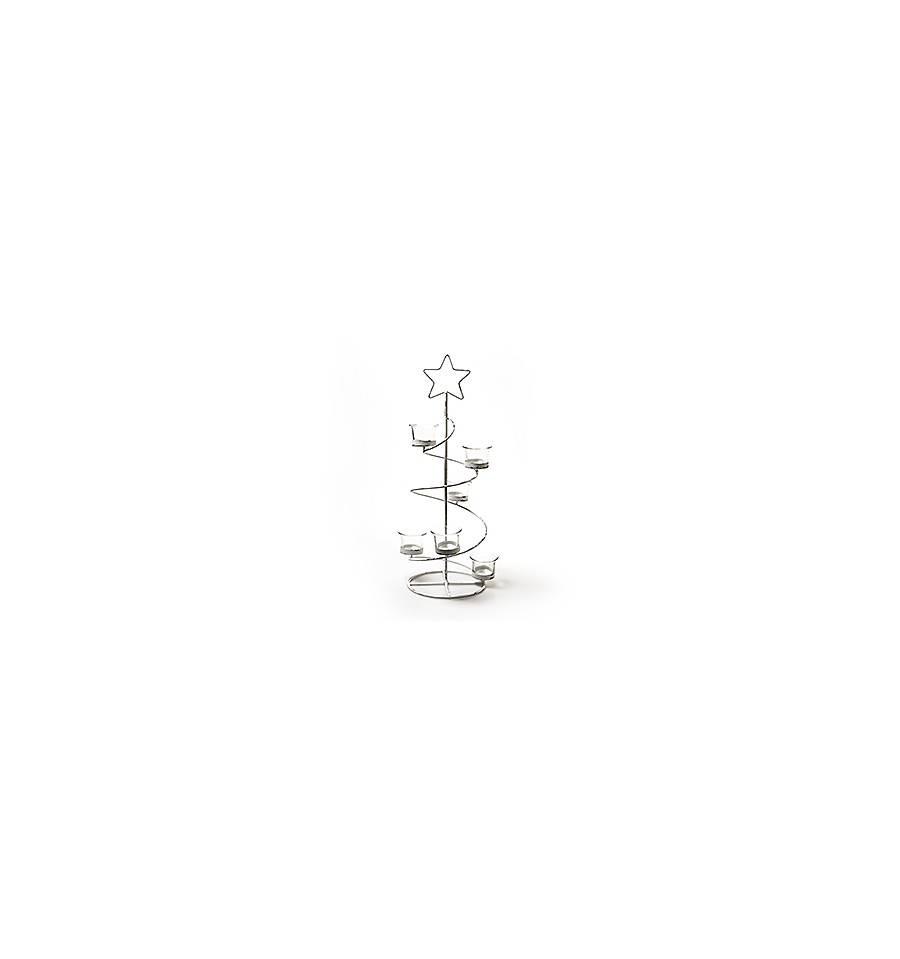 Weihnachtsbaum Metall Spirale.Deko Weihnachtsbaum Metall In Weis Mit 6 Teelichthaltern