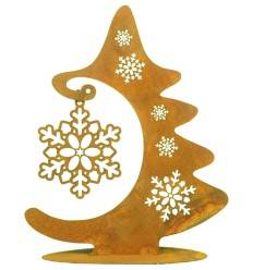 Edelrost Tanne mit Schneeflockenanhänger auf Platte - Höhe 25 cm