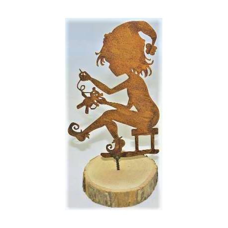 Edelrost Zwergenkind als Baumstecker - Höhe 15,5 cm