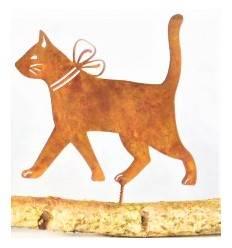 Edelrost Katze mit Schleife als Baumstecker - klein Höhe 16 cm, Breite 18 cm