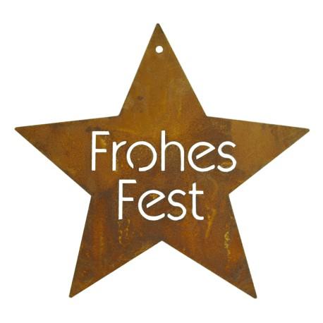 """Edelrost Stern """"Frohes Fest"""" - Ø 21 cm - Weihnachtsbaumschmuck zum Hängen"""