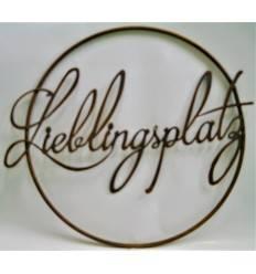 "Edelrost Schriftzug ""Lieblingsplatz"" im Ring aus Metall, Ø 40 cm"