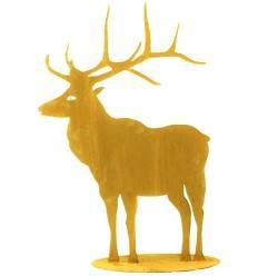 Rost Hirsch groß Höhe 98 cm nach vorne schauend auf Platte