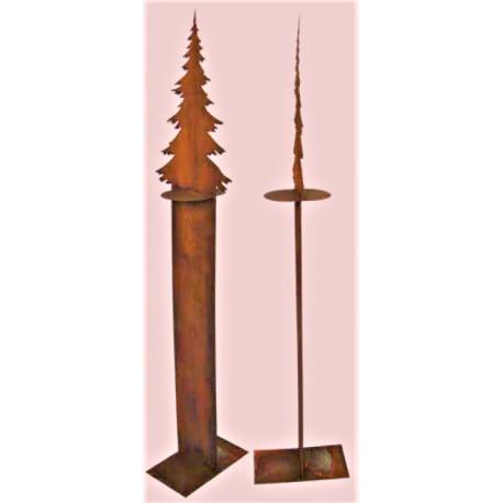 Edelrost Tannenbaumstele auf Standplatte - Höhe 125 cm