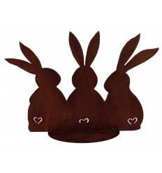 Edelrost Hasenfamilie auf Bodenplatte - Gartendeko für Ostern Höhe 20 cm