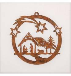 Weihnachtsbaumschmuck - Krippe mit Sterne Ø 13,5 cm - Fensterbild Weihnachten