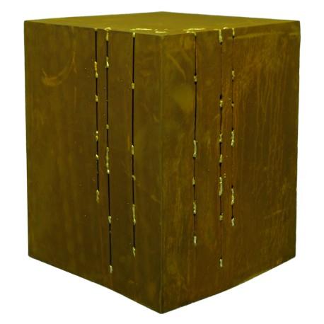 Goldstreifen Deko Podest aus Rost Höhe ca. 50cm - Gartenpodest beleuchtbar