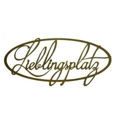 """Edelrost Schriftzug """"Lieblingsplatz"""" aus Metall oval - Breite 50 cm"""