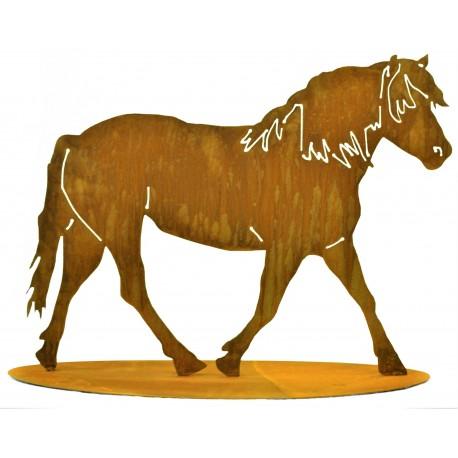 Edelrost Pferd auf Platte zum Stellen - Höhe 75 cm, Breite 100 cm