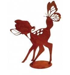 """""""Bambi"""" mit Schmetterling 30 cm hoch - Rehkitz Metall"""