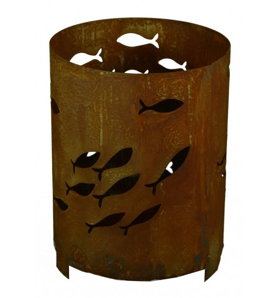 edelrost windlicht mit fischschwarm deko fische f r. Black Bedroom Furniture Sets. Home Design Ideas