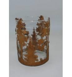 Windlicht Landschaft Hirsche/Wald inklusive Glas
