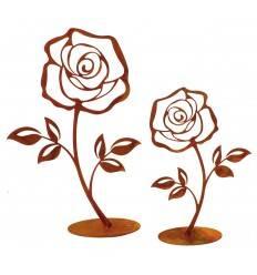 Deko Rose auf Bodenplatte 2er Set je 1 x 18 + 25 cm hoch
