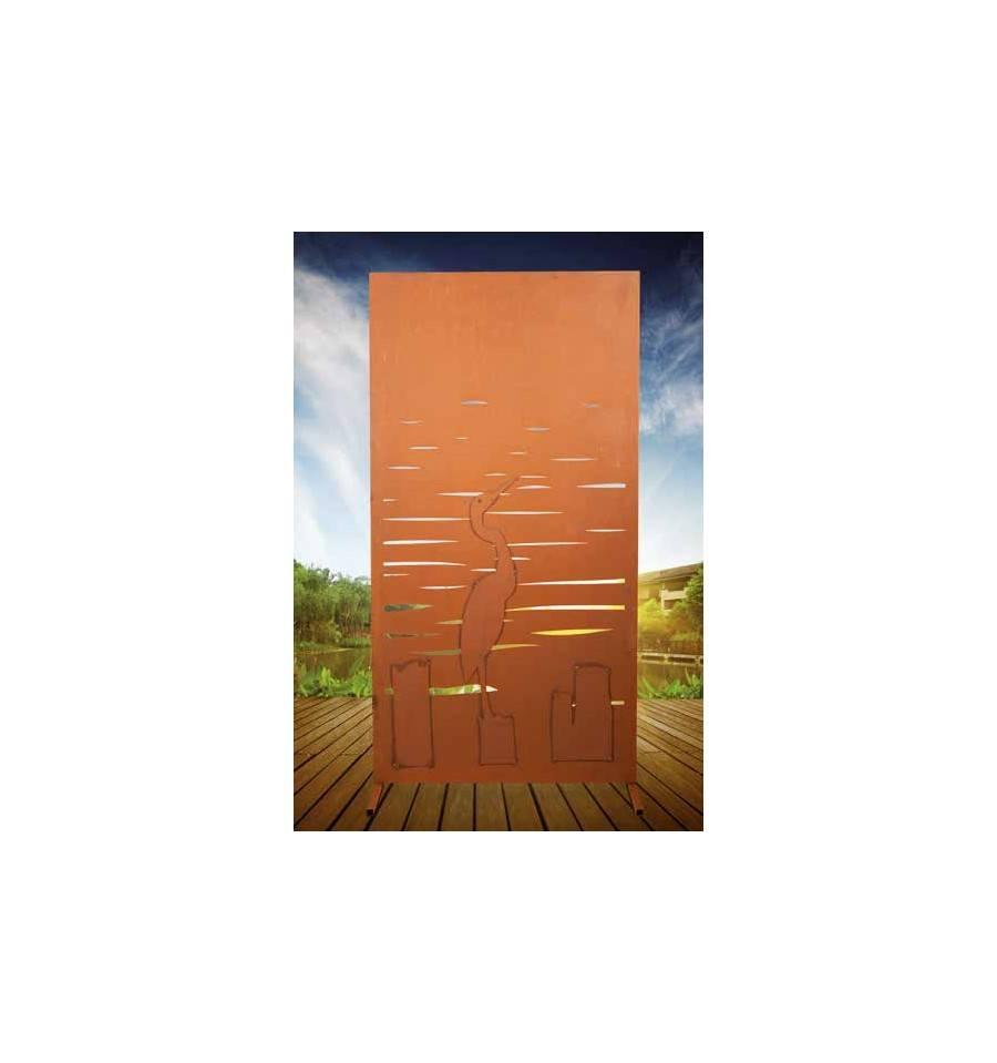 Trennwand Garten Sichtschutaus Metall Mit Motiv Kranich Bestellen
