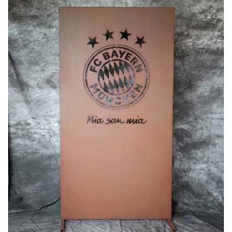 Trennwand aus Metall mit FC-Bayern Logo