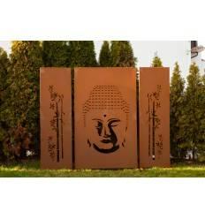 """Sichtschutzzaun aus Metall mit Motiv """"Buddha"""" 3 tlg. Höhe 180cm"""