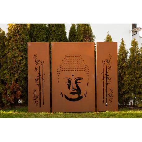 """Sichtschutzzaun aus Metall mit Motiv """"Buddha"""" 3 tlg."""