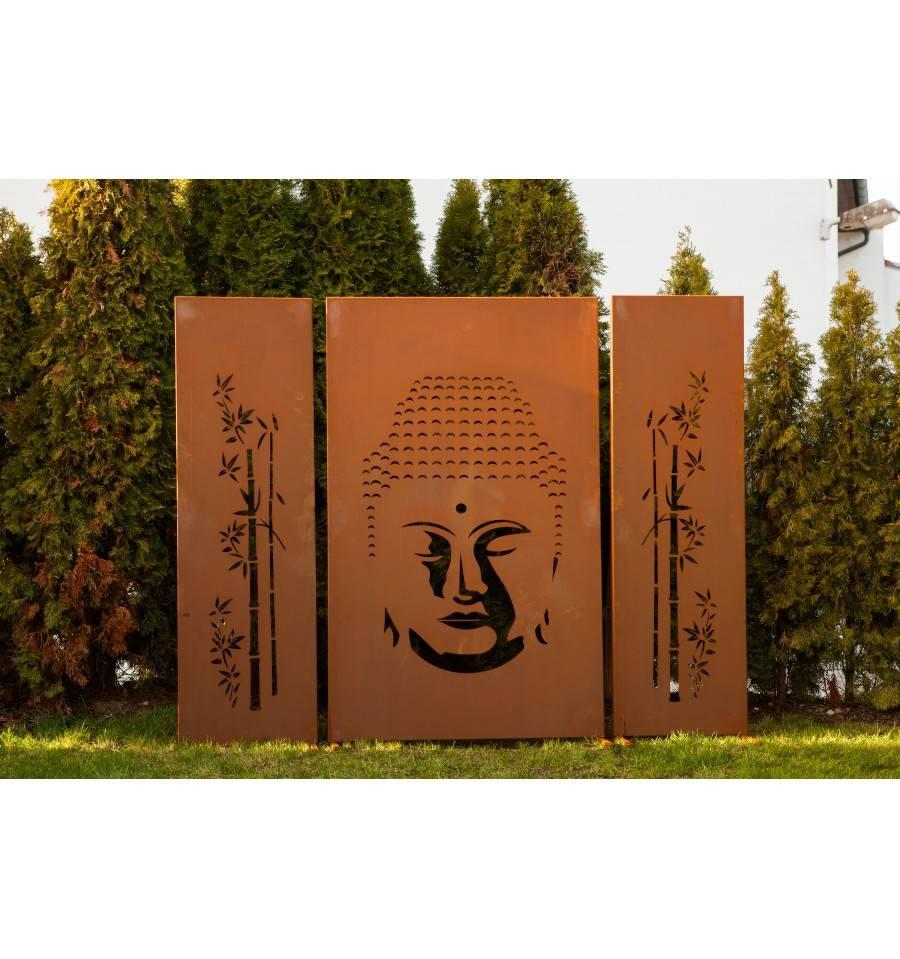 Sichtschutzzaun Aus Metall Mit Motiv Buddha 3 Tlg Bestellen