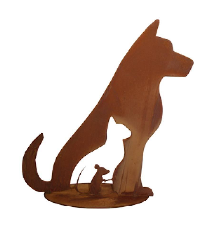 Edelrost Hund Lucy 50 cm Dekoration Garten Terrasse Garten Figur Skulptur Leine