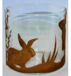 Ostern Windlicht Glas, Höhe 15 cm - klein