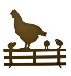 Deko Hühnerfamilie auf Gartenzaun Höhe 42 cm
