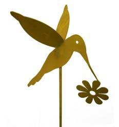 Gartenstab Kolibri mit Blume auf 40-cm Stab klein