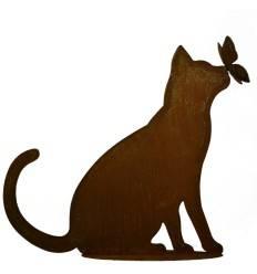 Deko Katze mit Schmetterling auf der Nase - Höhe 42 cm