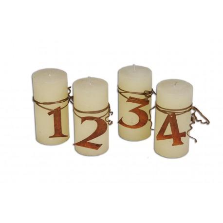 Adventszahlen 1 - 4 in Edelrost für Kerzen, oder Adventskranz